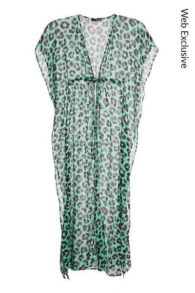 Green Leopard Print Long Kaftan